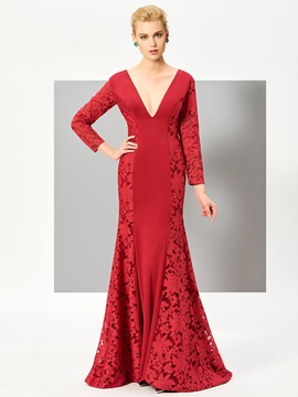 Nice Mermaid V Neck Long Sleeves Lace Sweep Train Evening Dress