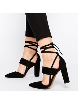 Pu Lace Up Block Heel Black Womens Shoes