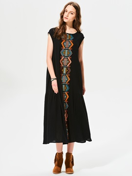 Geometric Pattern Embroidery Sleeveless Day Dress