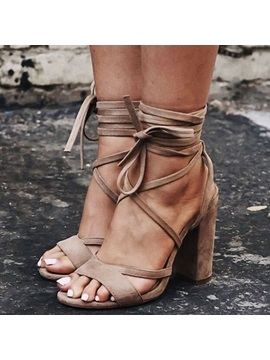 Suede Lace Up Chunky Heel Brown Sandals