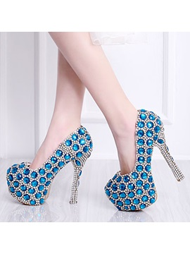 Leather Rhinestone Stiletto Heel Glitter Wedding Shoes