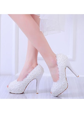 Pu Lace Beads Slip On Womens Wedding Shoes