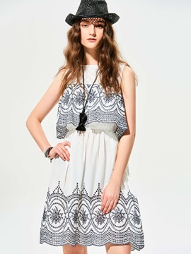 Cold Shoulder Geometric Pattern A Line Dress