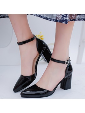Patent Leather Line Style Buckle Block Heel Stylish Pumps