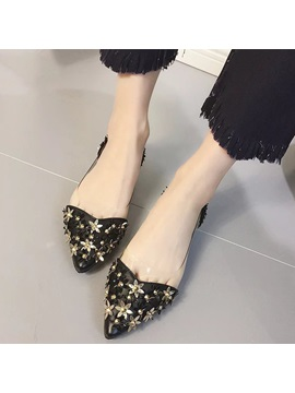 Pu 3d Floral Slip On Pointed Toe Womens Flats