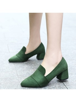 Pu Slip On Chunky Heel Simple Womens Pumps
