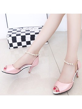 Pu Buckle Heel Covering Stiletto Heel Womens Sandals