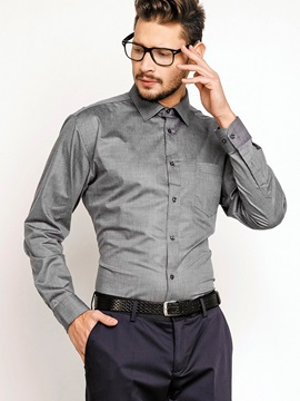Turn Down Collar Slim Fit Plain Mens Shirt