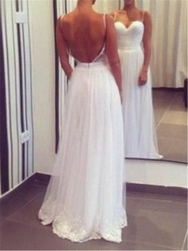 Casual Spaghetti Straps A Line Backless Beach Wedding Dress