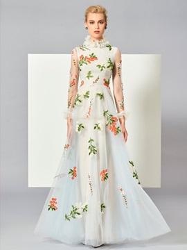Charming High Neck A Line Long Sleeves Appliques Floor Length Evening Dress