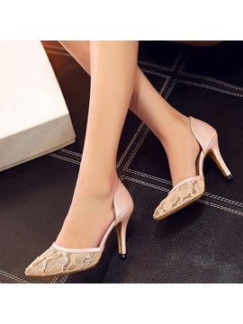 Pu Lace Slip On Plain High Heel Womens Pumps