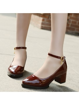 Vintage Patent Leather Line Style Buckle Block Heel Pumps