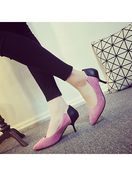Pu Slip On Contrast Color High Heel Womens Pumps