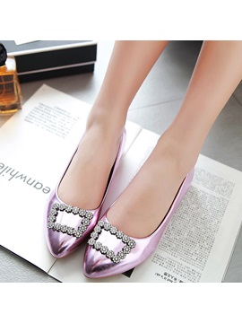 Pu Slip On Rhinestone Pointed Toe Stylish Womens Flats