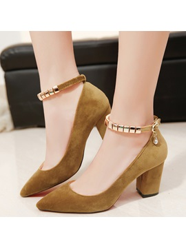 Pu Buckle Rhinestone Womens Pumps