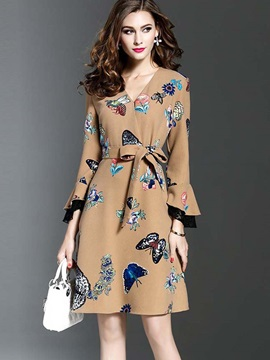 Floral Imprint V Neck Short Day Dress
