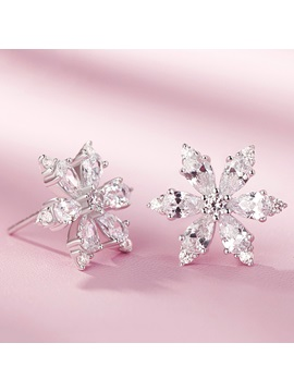 Shiny 925 Silver Sakura Design Stud Earrings