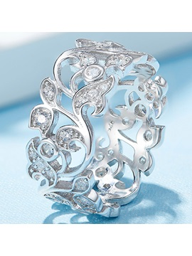 Charming 925 Silver Flowers Design Ring