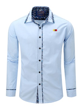 Chest Embroidery Lacework Mens Casual Shirt