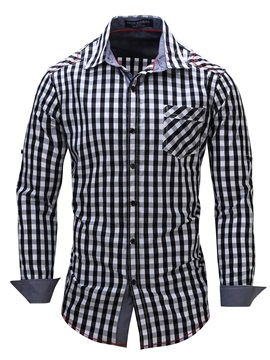 Plaid Long Sleeve Mens Causal Cotton Blends Shirt