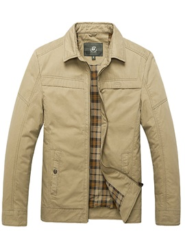 Solid Color Zip Mens Causal Turn Down Collar Jacket