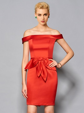 Stylish Off The Shoulder Sheath Sashes Knee Length Cocktail Dress