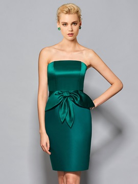 Simple Strapless Sheath Ruffles Knee Length Cocktail Dress