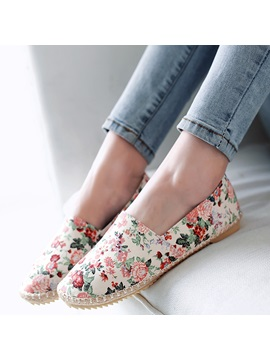 Canvas Floral Round Toe Womens Flats