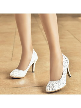Pu Lace Slip On Stiletto Heel Glitter Womens Pumps
