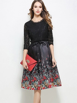 Lace Split Joint Long Sleeve Skater Dress