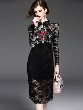 Solid Color Long Sleeve Lace Dress