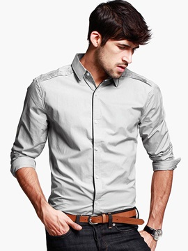Plain Slim Fit Mens Causal Long Sleeve Shirt