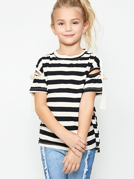 Chic Stripe Cutout Girls T Shirt