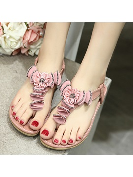 Pu Elastic Band Rhinestone Clip Toe Womens Sandals