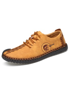 Nubuck Leather Lace Up Thread Mens Casual Shoes