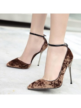 Suede Line Style Buckle Stiletto Heel Elegant Womens Pumps
