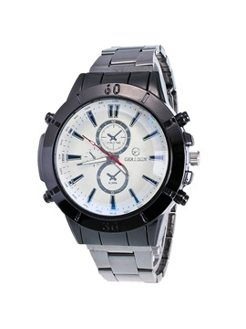 Steel Strip Double Dial Design Mens Watch