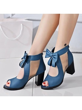 Pu Zipper Hollow Block Heel Womens Styish Sandals