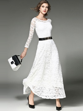 Round Neck Long Sleeve Lace Maxi Dress