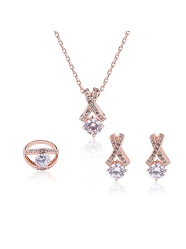 Zircon Inlaid Pendant Three Pieces Alloy Jewelry Set