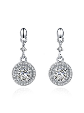 Full Rhinestone Circle Design 925 Silver Earrings