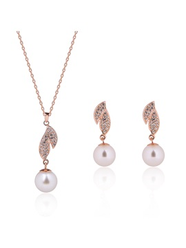 Alloy Diamante Leaf Design Pearl Two Pieces Jewelry Set
