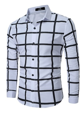 Plaid Single Breasted Casual Mens Long Sleeve Shirt