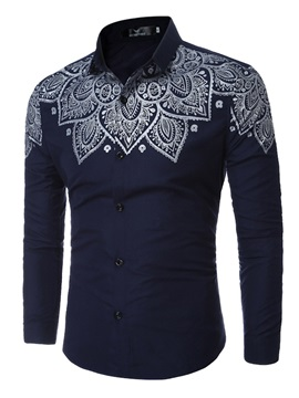 Leaf Print Lapel Cotton Blends Mens Shirt