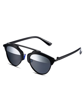 Black Frame Half Silver Lens Design Womens Polarized Sunglasses