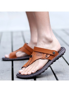 Simple Pu Thong Slip On Mens Sandals