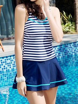 Casual Stripe U Neck Swimwear