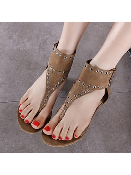 Pu Zipper Hollow Thong Womens Flat Sandals
