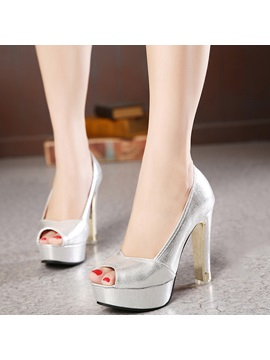 Luminous Slip On Peep Toe Platform Womens Heel Pumps