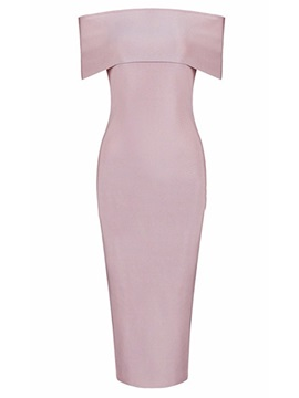 Pink Boat Neck Womens Bodycon Dress